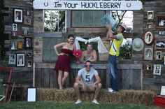Another view of the Huckleberry outdoor wedding photobooth. Guests loved to peek thru the open window in the center! A variety of crazy props were a hit as well.