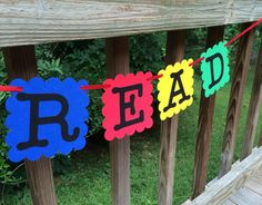 Items similar to READ Classroom Banner, School Library Teacher Decoration, Reading Center Sign, Primary Colors Back to School Garland on Etsy Classroom Banner, Classroom Themes, School Library Decor, Reading Bulletin Boards, Center Signs, College Tuition, Teacher Signs, Library Activities, Reading Centers