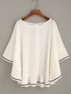 White Bell Sleeve Embroidered Tape Detail Blouse