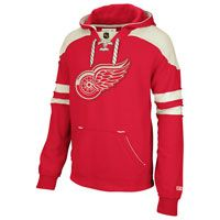 Detroit Red Wings Red CCM Pullover Lace Up Hooded Sweatshirt