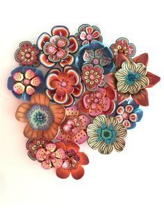 Gorgeous Color Palette! Polymer Clay Flowers ~ Perfect for a 3-D Art Piece!