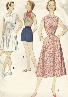 Vintage 50s McCalls 9765 Misses Long or Short Tennis Dress and Shorts Sewing Pattern Size 14 Bust 32. Sleeveless dress in two lengths with set-in belt. Dress buttons up the front. Shorts have side zipper in placket. Pattern is Printed, CUT/Complete, copyright 1954. The envelope is in