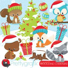 80% 0FF SALE Christmas woodland animals clipart commercial use, vector graphics, digital clip art - CL926