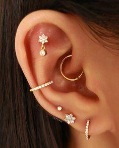 Rook Piercing Jewelry, Labret Jewelry, Conch Jewelry, Tragus Earrings, Ear Jewelry, Etsy Earrings, Ear Piercing Combinations, Pretty Ear Piercings, Body Piercings