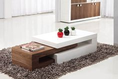 Lexy High Gloss White And Walnut Coffee Table £274 #livingroom #furniture #lounge #home #decor #interior #coffeetable #homeinspiration #minimalist #wood #highgloss #modern #contemporary