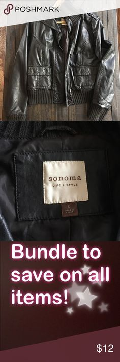 Faux leather bomber style jacket size: large Brown Good condition // Sonoma faux leather jacket  Size large Dark brown in color   Please check out my other listings! Sonoma Jackets & Coats