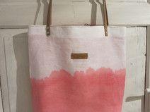 Leinentasche Shopper Leinen Batik weiß lachs pink