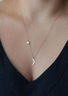 Kaila Modern Moon Pendant Star Floating Necklace in Gold or Silver Cute Jewelry, Jewelry Accessories, Jewelry Necklaces, Women Jewelry, Gold Jewelry, Necklaces For Women, Cheap Jewelry, Jewelry Holder, Pandora Jewelry