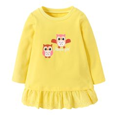 * Owl pattern<br /> * Lace trim<br /> * Pleated bottom<br /> * Material: 95.5% Cotton, 4.5% Others<br /> * Machine wash, tumble dry<br /> * Imported<br /> <br /> Sweeten your baby girl's look with pleated lace trim bottom and cute owl pattern.