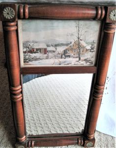Wooden Custom Framed Mirror Currier and Ives Early American