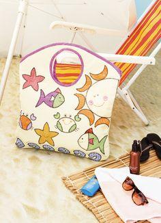 Bolsa de praia com patch apliquê Mais