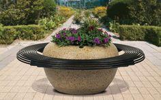 Bellitalia Luna with Circular Bench Precious Stone Seat Planter