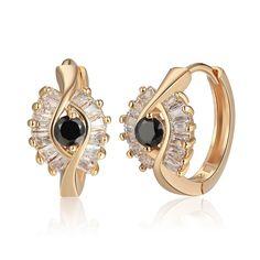 MARIONNE Black- náušnice - pozlátené - osadené zirkónom + čiernym zirkónom Krabi, Gemstone Rings, Gemstones, Jewelry, Fashion, Moda, Jewlery, Gems, Jewerly