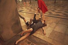 Ordinary Accidents – Hannah Noble, Anna Millonig and Agne Petkute are falling over for fashion in a story by Alessio Bolzoni for the spring-summer issue of Grey Magazine. Moreno Galata styles the trio in ladylike looks from the spring collections as they have fainting spells that take them from the parlor to the streets. / Hair by Valentino, Makeup by Thais Bretas
