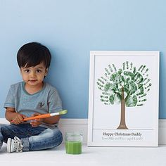 Personalised Hand Print Tree Poster - gifts for men- would be so cute to do this on an inexpensive white canvas
