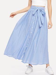 Shop Pinstripe Button Up Belted Skirt online. SHEIN offers Pinstripe Button Up Belted Skirt & more to fit your fashionable needs. Skirt Belt, Dress Skirt, Midi Skirt, Denim Skirt Outfits, Mode Hijab, Blouse Dress, Ladies Dress Design, Look Fashion, Fashion Women