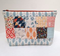 Handmade Quilted Zipper Pouch Cosmetic Bag by SeasideStitchin Found our shop on Pinterest get 10% off with coupon code 10PIN