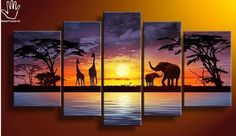 5 Piece Purple Sunset  Painting!  Strong African hand painting made on canvas. Suitable for living rooms, dining areas, corridors or offices. suitable for red colored walls, cream, white or yellow. Available at www.nuerasamp.com.