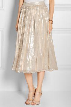 Alice + Olivia Evita pleated metallic silk-blend skirt NET-A-PORTER.COM