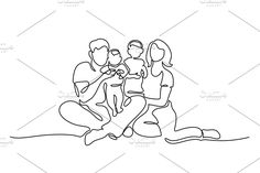 Family concept Father, mother, kids by Valenty on Outline Drawings, Art Drawings, Stippling Art, Nurse Art, Flame Art, Family Drawing, Simple Line Drawings, Line Illustration, Art Sketches