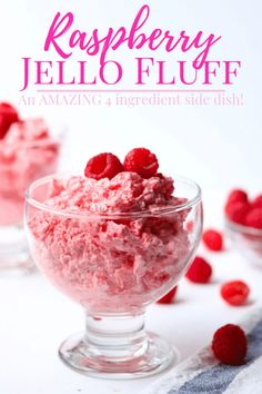 Raspberry Jello Fluff is a classic Jello salad side dish. Made with only 4 ingredients, it is easy to make. This side dish is the perfect addition to any holiday table or bbq, it adds just a little sweetness to break up a savory dinner menu. Side Dish Recipes, Veggie Recipes, Side Dishes, Salad Recipes, Veggie Food, Jello Recipes, Jello Desserts, Fudge Recipes, Easter Recipes