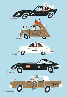 Love this funky car illustration for a kid's room (check that cowboy!)