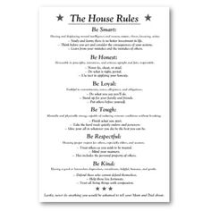 Family House Rules. These rules are simple, straightforward and get ...