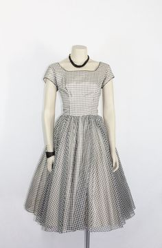 1950's Vintage Dress   White and Black by VintageFrocksOfFancy, $170.00
