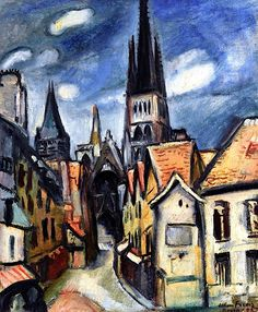 Rouen Cathedral, 1908. Emile-Othon Friesz (1879-1949) was a French artist of the Fauvist movement.  It was while he was at the Lycée that he met his lifelong friend Raoul Dufy. He and Dufy studied at the Le Havre School of Fine Arts in 1895-96 and then went to Paris together for further study. In Paris, Friesz met Henri Matisse, Albert Marquet, and Georges Rouault. Like them, he rebelled against the academic teaching of Bonnat and became a member of the Fauves, exhibiting with them in 1907.