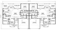 First Floor Plan of Ranch Multi-Family Plan 62376