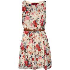 Boohoo Eleanor Floral Belted Skater Dress (€23) ❤ liked on Polyvore featuring dresses, vestidos, short dresses, robes, belted floral dress, floral mini dress, mini dress, pink floral dress and flower print dress