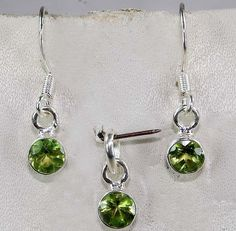 Natural Peridot 925 Solid Sterling Silver Earrings Pendant Set Jewelry S7-1