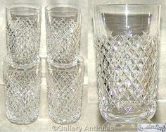 "Four Rare vintage Waterford Crystal (Ireland) Alana Pattern 5"" tall Crystal Cut Glass 12oz Flat juice Tumblers c.1970's Signed (ref: 4064)"
