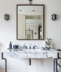 """O R I G I N A L B T C on Instagram: """"A pair of our British-made Davey Bulkhead lights add a touch of industrial chic to an elegant bathroom scheme by @angusreidprojects.…"""" Tub Shower Combo, Shower Tub, Luxury Lighting, Lighting Design, Btc Lighting, Davey Lighting, Bathroom Goals, Beautiful Mirrors, Industrial Chic"""