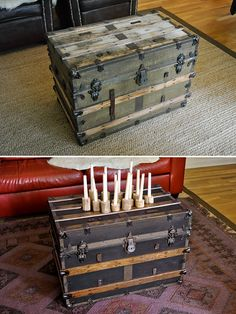 antique steamer trunk refinished with stain and dark purple paint