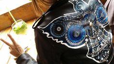 Hand Painted Leather Jacket, Custom Jacket, Biker Jacket , Ramones Jacket, Studded Jacket,