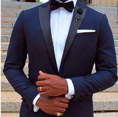 Midnight blue tuxedo with narrow peak lapel