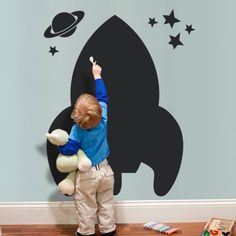 - Detail - Size Item No. 20012 Overall Dimensions x (approx.) Whats Included Spaceship Chalkboard Kids Wall Decal Stars Saturn Product Type Chalkboard wall decal Origin USA Chalkboard Wall Bedroom, Chalkboard Wall Kids, Kids Wall Decals, Playroom Decor, Kid Decor, Playroom Ideas, Kid Spaces, Kids Playing, Kids Room