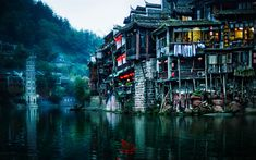Download wallpapers Fenghuang, 4k, foggy weather, river, China, Asia
