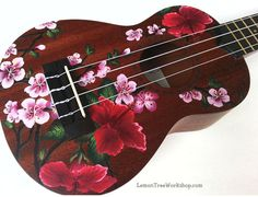 YOUR Soprano Ukulele Handpainted with Hibiscus & Cherry Blossoms (Ukulele not included) – tipos de guitarra y tocar guitarra Ukulele Art, Ukulele Chords, Guitar Art, Ukelele Painted, Painted Guitars, Ukulele Design, Instruments, Guitar Painting, Simple Doodles