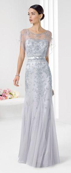 Marvelous Tulle & Satin Scoop Neckline Floor-length Sheath Evening Dresses with Beadings & Rhinestones