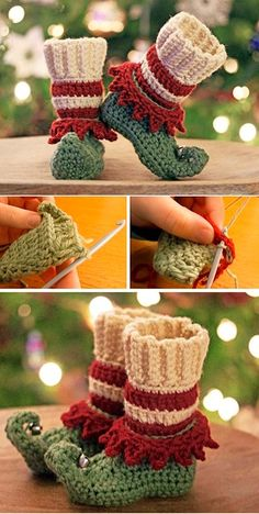 Crochet Christmas Elf Slippers - Design Peak Okay, these are really chic - Diyprojectgardens.club Crochet Christmas Elf Slippers - Design Peak Okay, they are really chic S. Crochet For Kids, Crochet Baby, Free Crochet, Crochet Beanie, Learn Crochet, Crochet Granny, Elf Slippers, Crochet Slippers, Crochet Socks Pattern