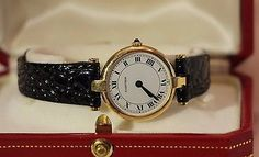 3b0d2b607fc1 Vintage Original CARTIER Vendome 81002 Antique Estate Woman Watch Solid 18K  GOLD