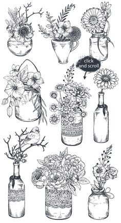 Hand drawn flowers and bouquets by Fancy art on Creative Market Han. - Hand drawn flowers and bouquets by Fancy art on Creative Market Hand drawn flowers and - Easy Doodle Art, Doodle Art Drawing, Drawing Sketches, Drawing Ideas, Sketching, Flower Drawing Tutorials, Flower Sketches, Drawings Of Flowers, Botanical Drawings