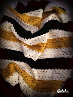 Baby boy crochet blanket, navy, mustard and cream
