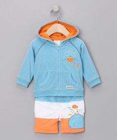 Take a look at this Blue Terry Zip-Up Hoodie & Swim Trunks - Infant by Boys in Blue: Infant Apparel on @zulily today!