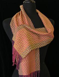 Handwoven scarf by Sue Fairchild photo by Aimee Radman Loom Weaving, Hand Weaving, Woven Scarves, Weaving Projects, Dish Towels, Textile Art, Shawls, Fiber Art, Minnesota