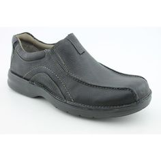 Clarks Men's Pickett Slip-On Clarks. $53.11. r, stretch goring in the upper for a flexible fit and EVA foam cushioned insoles. e ! bicycle-toe detailed stitching Comfort features include a plush paddedcolla. leather. Additional padding in the heel helps to absorb shock Flexible traction outsole. um leathers and cement construction, this slip on loafer is instantly comfortabl. Men's Clarks, Pickett A soft leather casual slip on style Constructed with premi. rubber sole