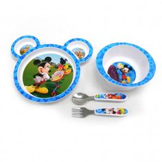 Make mealtime fun with this Mickey Mouse feeding set! The set includes a plate that's perfect for finger foods, a deep sided bowl that makes scooping easier (and spilling less frequent) and a fork and spoon set for Baby when he's ready to practice etiquette! The plate and bowl are made from durable plastic that is both microwave and dishwasher safe; the utensils are stainless steel with plastic handles! Product is BPA free. Style may vary by store.