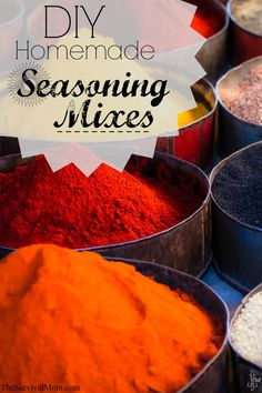 DIY Homemade Seasoning Mixes -- I couldn't believe that I had all the ingredients on hand to make these! Homemade Spices, Homemade Seasonings, Ras El Hanout, Spice Mixes, Spice Blends, Seasoning Mixes, Saveur, Dips, Diy Food